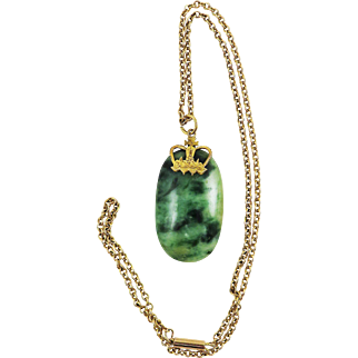 SO REGAL 30.71 Ct. Chinese Untreated Jadite Cabochon Mounted w/18k Crown Pendant on 9k Necklace, c.1880!