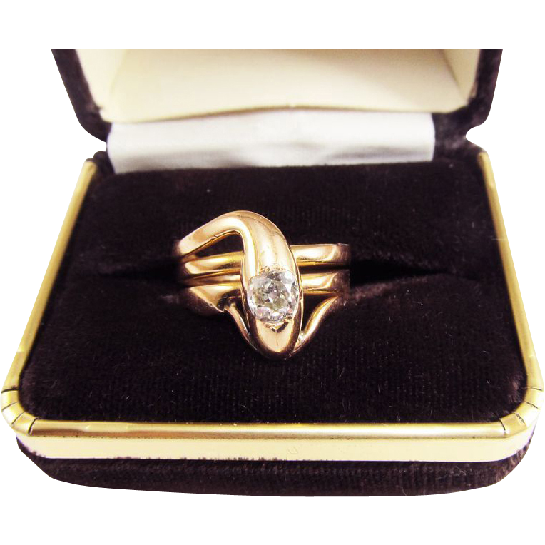 MONUMENTAL Unisex Victorian .53 Ct. OMC Diamond/18k Serpent Ring w/$4,350.00 GIA Appraisal, 10.04 Grams, c.1875!