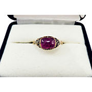 SPECTACULAR George II Natural 3.24 CT. TW Ruby Cabochon/Rose-Cut Diamond/15k Ring, c.1750!