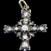 HEAVENLY Regency .95 Ct. TW Rose-Cut Diamond/Sterling/9k Maltese Cross Pendant, c.1810!