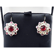 DAZZLING Large Georgian Red and White Paste/9k Earrings, c.1780/1830!