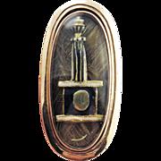 ULTIMATE Neoclassical Enamel/Hair/9k Mourning Ring, Column, Plinth & Urn, Inscribed, c.1794!
