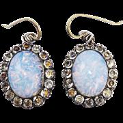 RAREST All-Original XL Georgian Opaline/White Paste/Sterling Earrings, c.1785!