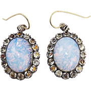 RAREST All-Original XL Georgian Opaline/White Paste/Sterling Earrings, c.1785!