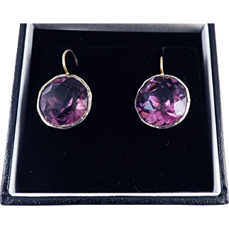 EXTRA-LARGE Georgian Amethyst Paste Solitaire/Sterling/15k Earrings, c.1800!