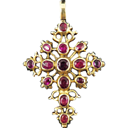 MAGNIFICENT 2.2 Ct TW Spanish Ruby/14k Pendant Cross, 8.74 Grams, c.1785!