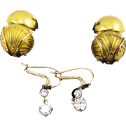 OUTSTANDINGLY RARE 1.24 Ct. TW Edwardian Diamond Earrings w/Victorian Etruscan Revival Coach Covers in 18k, c.1865/1900!