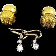 OUTSTANDINGLY RARE 1.24 Ct. TW Edwardian OEC Diamond Earrings w/Victorian Etruscan Revival Coach Covers in 18k, c.1865/1900!