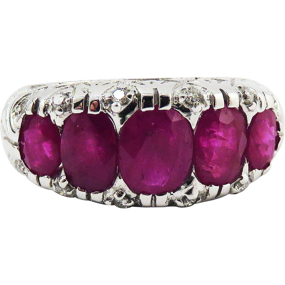 EXTRA-FINE Jazz Age 3.41 Ct. TW Five Stone Natural Ruby/Diamond/14k Ring, 5.01 Grams, c.1925!
