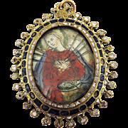 MUSEUM-WORTHY Spanish Enameled Reliquary Pendant, Mary of Sorrows/Eucharist Chalice, c.1600!