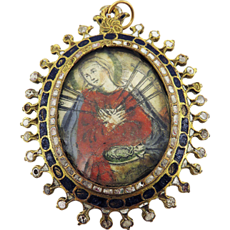 MUSEUM-WORTHY Spanish Enameled Reliquary Pendant, Mary of Sorrows/Eucharist Chalice, c.1600!
