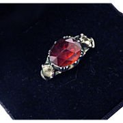 REGAL, ALL-ORIGINAL George II 3.9 Ct. TW Garnet/Rock Crystal/Silver Gilt Ring, c.1740!