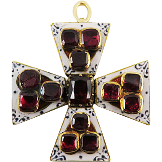 SO RARE Georgian 3.85 Ct. TW Garnet/Enamel/15k Maltese Cross Pendant, 8.87 Grams, c.1805!