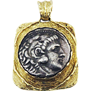 LIFETIME ISSUED XF+ Greek Silver Tetradrachm of Alexander the Great Mounted in Modern 14k Pendant, 27.14 Grams, c.335 BCE!