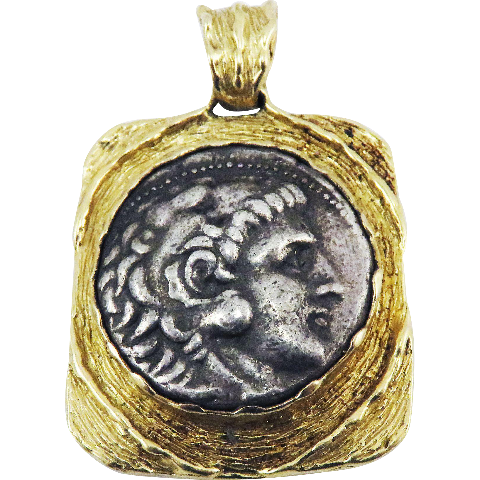 LIFETIME ISSUED XF+ Greek Silver Tetradrachm of Alexander the Great Mounted in Modern 14k Pendant, 27.14 Grams, c.335 BCE!