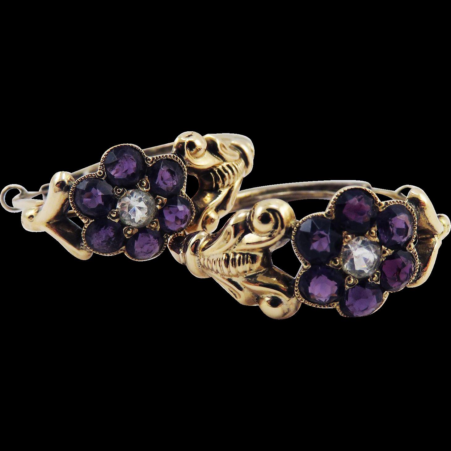 SWEET VIOLETS: Near-Pristine Late Georgian 14k Rose Gold Creole Hoop Earrings w/Paste Violets, c.1825!