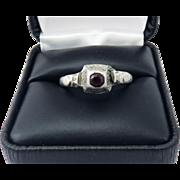 SO RARE Tudor Unisex Silver/Garnet Decorative Ring, 6.36 Grams, c.1540!