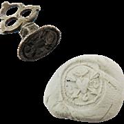 "RAREST Tudor Silver Sentimental Pendant Seal w/Rebus, ""I Love In Sadness,"" c.1550!"