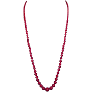 """THE ULTIMATE 24"""" Victorian Deep Red Graduated Coral/14k Necklace, c.1890!"""