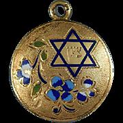 "BEAUTIFUL & Rare Late Victorian Enamel/14k Rose Gold Judiaca Pendant, Inscribed ""Israel"" in Hebrew, c.1895!"