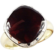 STUNNING Unisex Georgian Garnet Solitaire/Sterling/15k Ring, 6.24 Grams, c.1805!