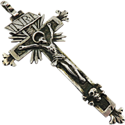 "EXCEPTIONAL 3 5/8"" Late Renaissance French Sterling Silver Pectoral Cross Pendant, c.1590!"