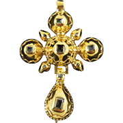 LOVELY Pre-Georgian Table- and Rose-Cut Pitch-Backed Diamond/20k Cross Pendant, c.1700!
