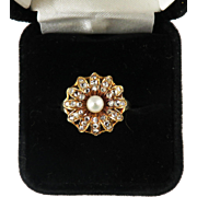 BLAZING BLOSSOM: 1.18 Ct. Victorian Rose-Cut Diamond/Pearl/14k Daisy Ring, c.1890!