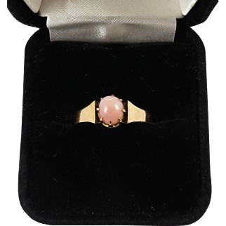 RAREST OF THE RARE Natural French Conch Pearl/18k Ring, c.1890!