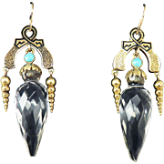 "FABULOUS 2 1/4"" High Victorian Rock Crystal/Turquoise/Enamel/14k Drop Earrings, c.1870!"