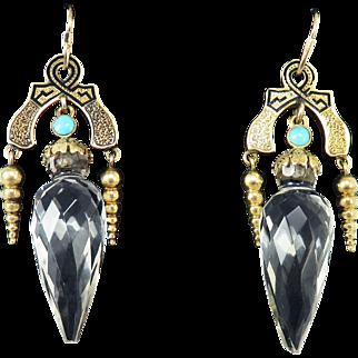 """FABULOUS 2 1/4"""" High Victorian Rock Crystal/Turquoise/Enamel/14k Drop Earrings, c.1870!"""