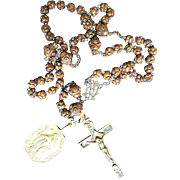 HEAVENLY 18th-Century Rosewood Rosary w/Marian Monogram, Crucifix and Carmelite Medallion, c.1750!