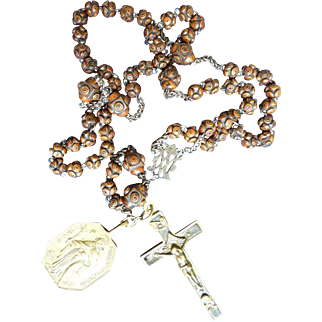 HEAVENLY 18th-Century Rosewood Rosary w/Marian Monogram, Crucifix and Carmelite Medallion, c.1750!