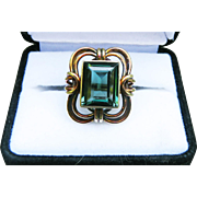MAJESTIC 7.41 Ct. Natural Green Tourmaline/14k Ring, 9.96 Grams, c.1925!