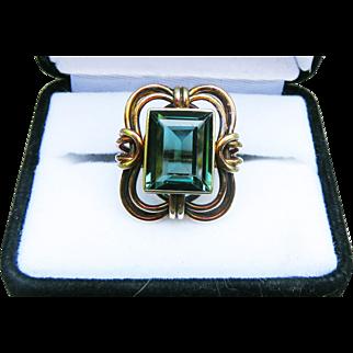 MAJESTIC 7.41 Ct. Natural Green Tourmaline/14k Ring, 9.96 Grams, c.1925!