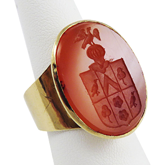 FABULOUS Unisex Georgian Armorial Seal For a Knight Set in Custom-Made 14k Ring, 11.57 Grams, c.1780!