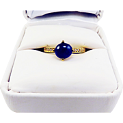 MAGNIFICENT Estate 2.57 Ct. TW Untreated Blue & White Sapphire/22k Ring, c.1960!