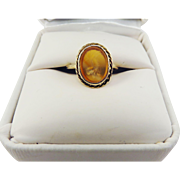 GENUINE ROMAN Carnelian   Intaglio of a Lioness Set in Modern 14k Ring, c.100 AD!