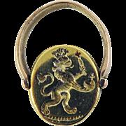 SUPERB Georgian Double-Sided Silver Gilt/9k Intaglio Swivel Ring, British Lion & Aristotle, c.1795!