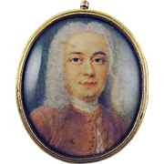 WONDERFUL George I Miniature of a Gentleman, Watercolor on Vellum in Silver Gilt Pendant Frame, c.1725!
