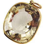 HOPE CITRINE! Stunning Late Victorian 111.7 Carat Citrine Set in 9k Rose-Gold Pendant, c.1900!