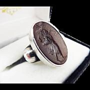HANDSOME Georgian Tassie Intaglio Set in Modern .950 Silver Ring, c.1790!