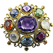 "MASTERPIECE 13+ Ct. TW Georgian ""Harlequin"" Acrostic Gemstone/15k Brooch, c.1810!"