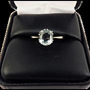 HEAVENLY 1.91 Ct. Aquamarine Solitaire Ring in Platinum & 9kt Gold, c.1895!