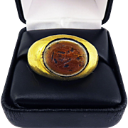 "MASTERPIECE Ancient Roman ""Banded Agate"" Paste Intaglio of Fortuna set in Original 22k Ring, 12.47 Grams, c.50 AD!"