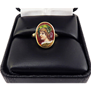 SO CHARMING!! Victorian Hand-Painted Enamel on Gold Portrait of a Lady in 18k Ring, c.1885!