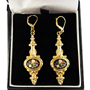 "SO ROMANTIC 2 1/2"" Late Georgian Enamel/18k Drop Earrings, c.1835!"
