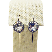 "DAZZLING Edwardian Eight ""Carat"" TW Sterling Silver/Paste Solitaire Earrings, c.1905!"