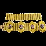 BEST EVER Swiss Enamel/Pinchbeck Bracelet w/Extra Pinchbeck Mesh, c.1820!