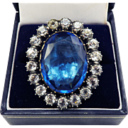 ULTIMATE Georgian Sapphire and Diamond Paste/Sterling/9k Halo Ring, c.1795!